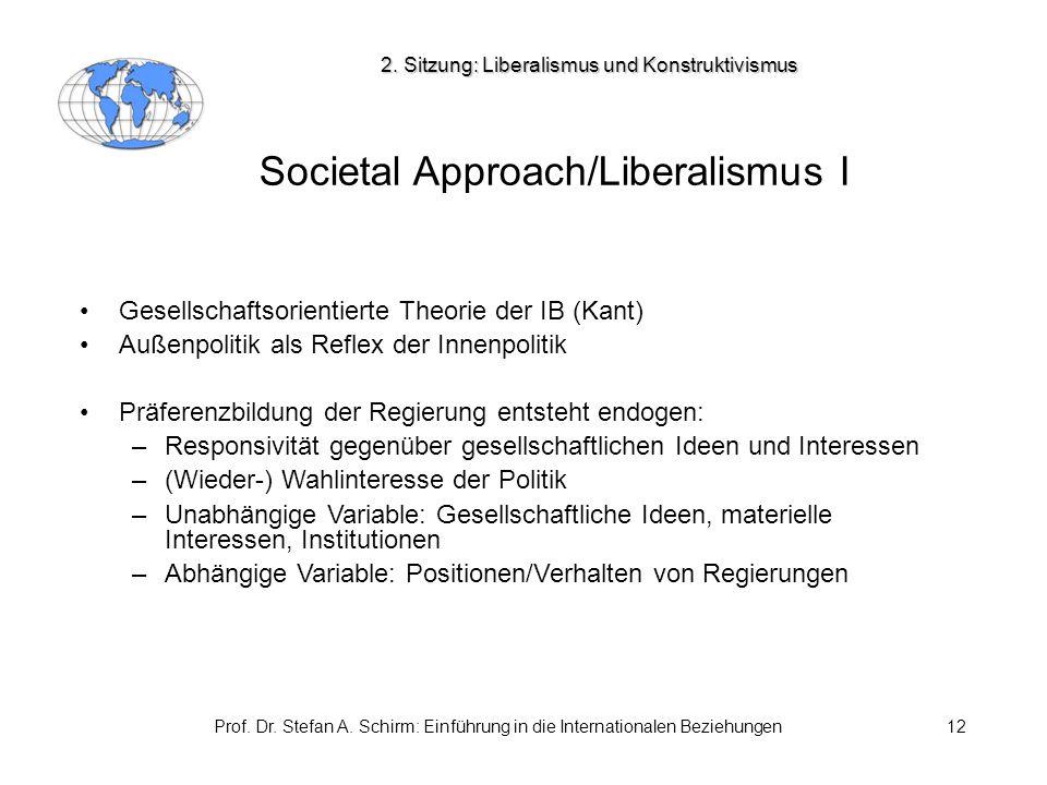 Prof. Dr. Stefan A. Schirm: Einführung in die Internationalen Beziehungen12 Societal Approach/Liberalismus I Gesellschaftsorientierte Theorie der IB (