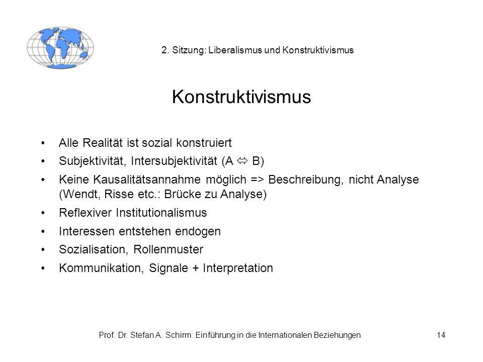 Prof. Dr. Stefan A. Schirm: Einführung in die Internationalen Beziehungen14 2. Sitzung: Liberalismus und Konstruktivismus Konstruktivismus Alle Realit