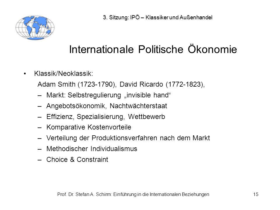 Prof. Dr. Stefan A. Schirm: Einführung in die Internationalen Beziehungen15 Internationale Politische Ökonomie Klassik/Neoklassik: Adam Smith (1723-17