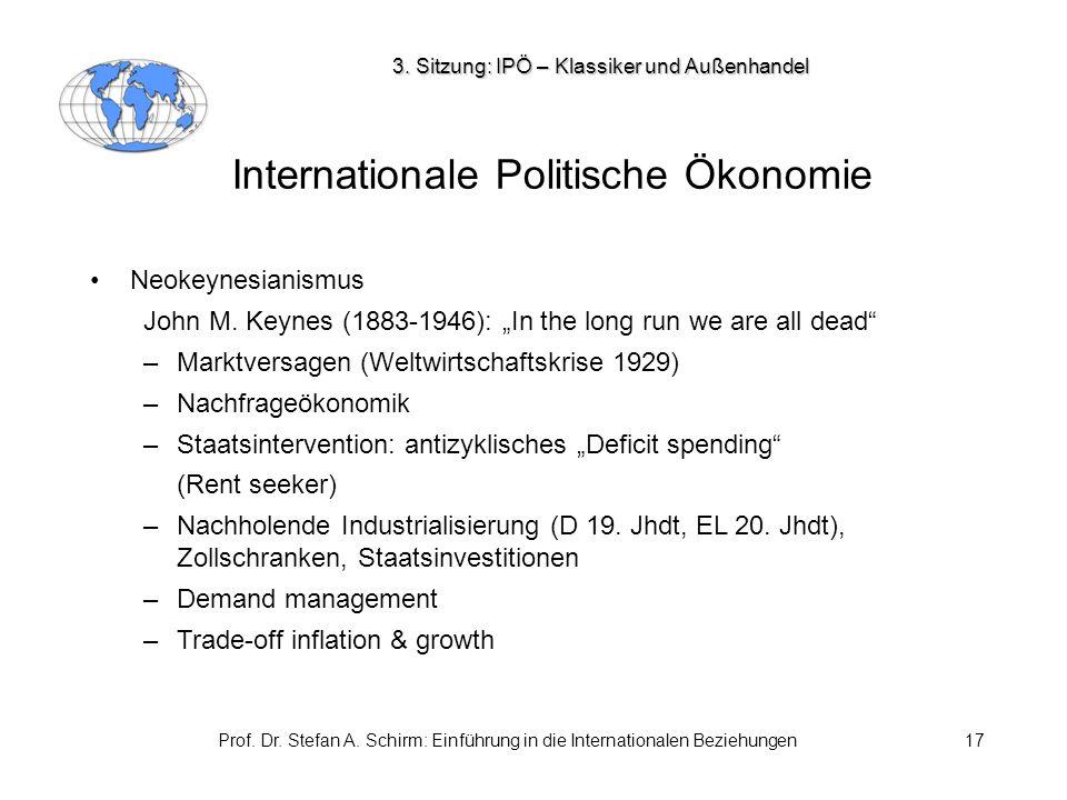 Prof. Dr. Stefan A. Schirm: Einführung in die Internationalen Beziehungen17 Internationale Politische Ökonomie Neokeynesianismus John M. Keynes (1883-