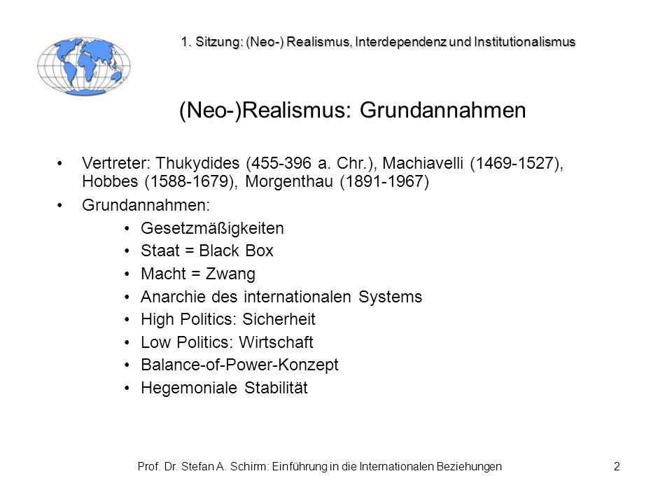 Prof. Dr. Stefan A. Schirm: Einführung in die Internationalen Beziehungen2 (Neo-)Realismus: Grundannahmen Vertreter: Thukydides (455-396 a. Chr.), Mac