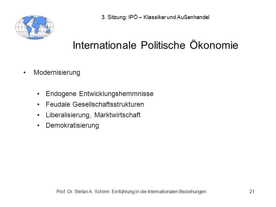Prof. Dr. Stefan A. Schirm: Einführung in die Internationalen Beziehungen21 Internationale Politische Ökonomie Modernisierung Endogene Entwicklungshem