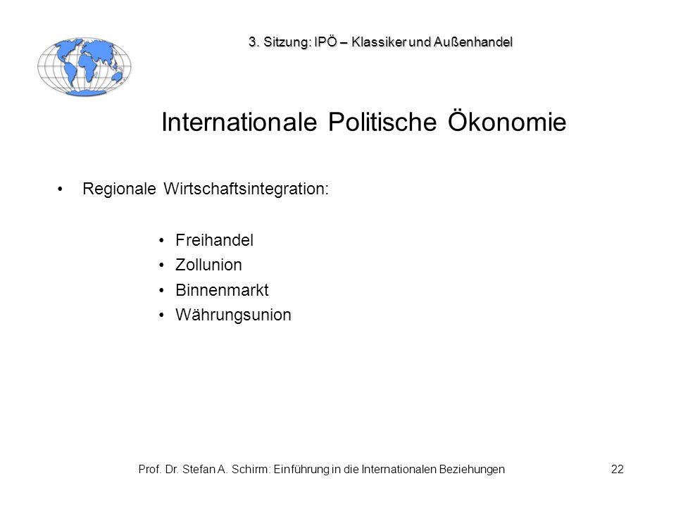 Prof. Dr. Stefan A. Schirm: Einführung in die Internationalen Beziehungen22 Internationale Politische Ökonomie Regionale Wirtschaftsintegration: Freih