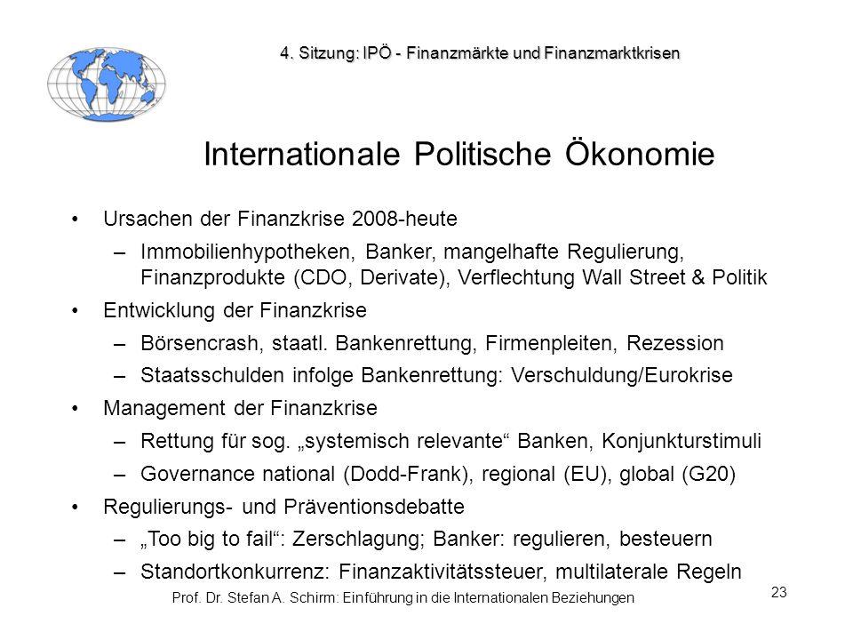 Prof. Dr. Stefan A. Schirm: Einführung in die Internationalen Beziehungen 23 Internationale Politische Ökonomie Ursachen der Finanzkrise 2008-heute –I