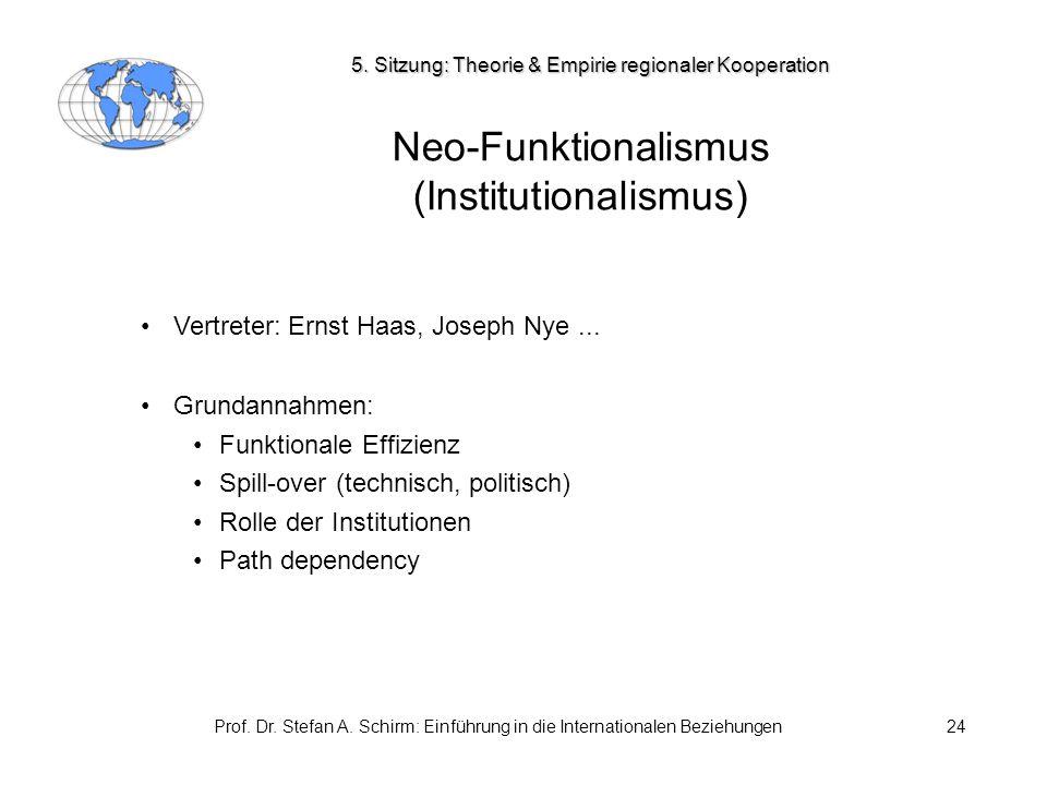 Prof. Dr. Stefan A. Schirm: Einführung in die Internationalen Beziehungen24 Neo-Funktionalismus (Institutionalismus) Vertreter: Ernst Haas, Joseph Nye