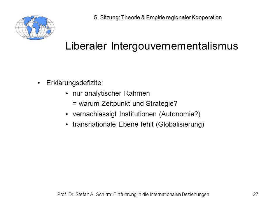 Prof. Dr. Stefan A. Schirm: Einführung in die Internationalen Beziehungen27 Liberaler Intergouvernementalismus Erklärungsdefizite: nur analytischer Ra