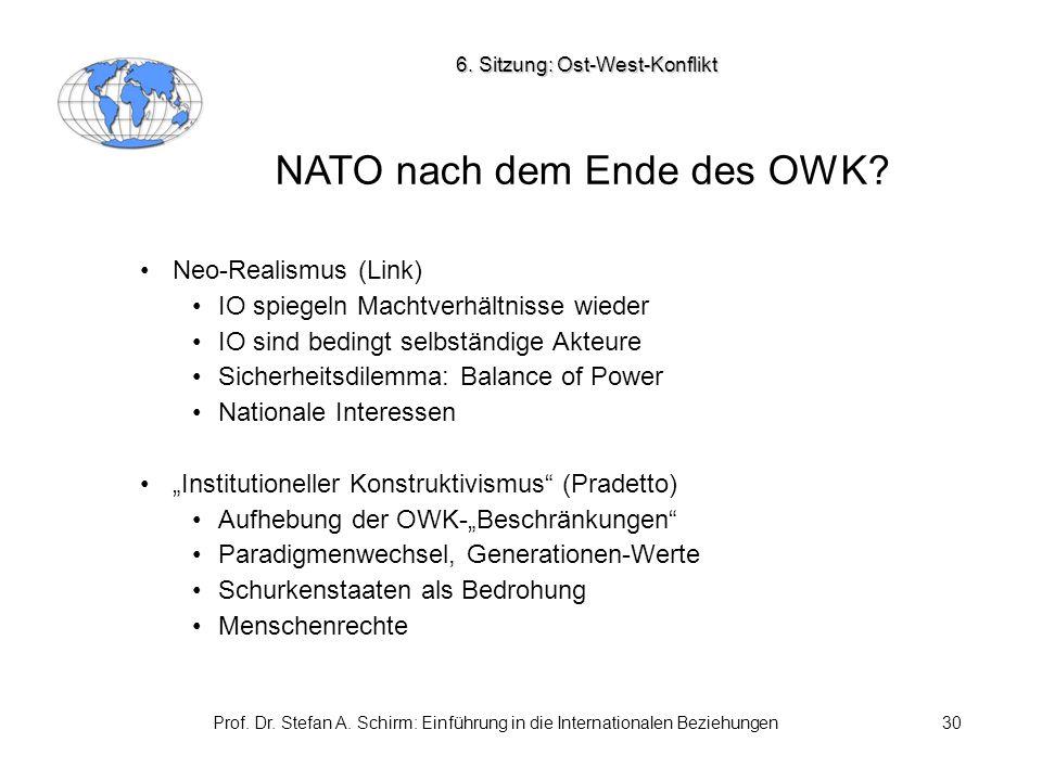 Prof. Dr. Stefan A. Schirm: Einführung in die Internationalen Beziehungen30 NATO nach dem Ende des OWK? Neo-Realismus (Link) IO spiegeln Machtverhältn