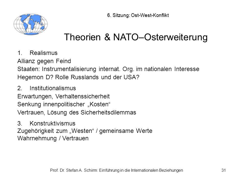 Prof. Dr. Stefan A. Schirm: Einführung in die Internationalen Beziehungen31 Theorien & NATO–Osterweiterung 6. Sitzung: Ost-West-Konflikt 1.Realismus A