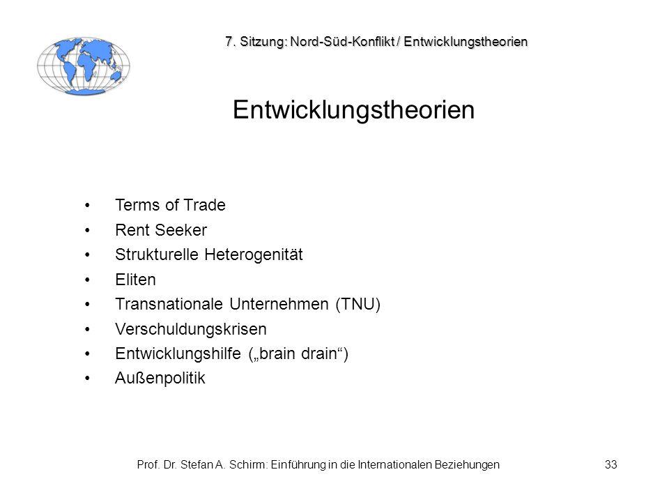 Prof. Dr. Stefan A. Schirm: Einführung in die Internationalen Beziehungen33 Entwicklungstheorien Terms of Trade Rent Seeker Strukturelle Heterogenität