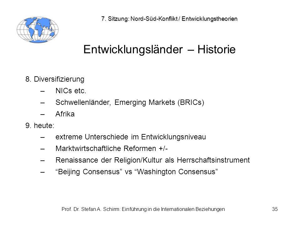 Prof. Dr. Stefan A. Schirm: Einführung in die Internationalen Beziehungen35 Entwicklungsländer – Historie 8. Diversifizierung –NICs etc. –Schwellenlän