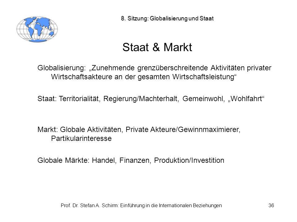 """Prof. Dr. Stefan A. Schirm: Einführung in die Internationalen Beziehungen36 Staat & Markt Globalisierung: """"Zunehmende grenzüberschreitende Aktivitäten"""