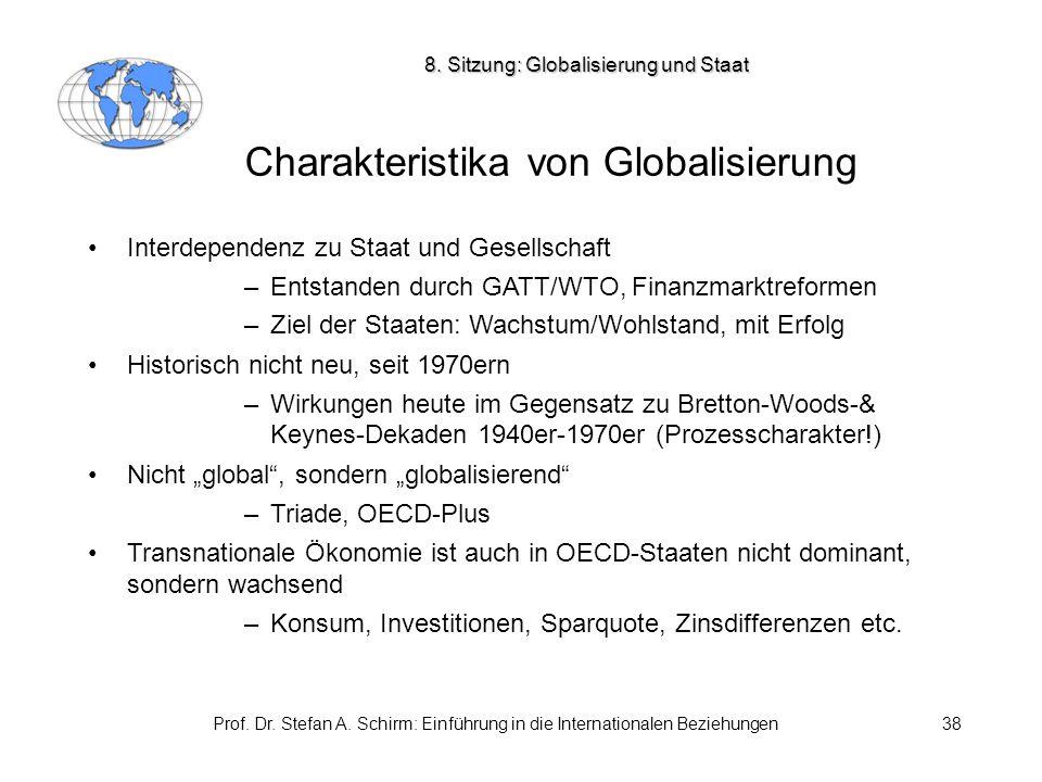 Prof. Dr. Stefan A. Schirm: Einführung in die Internationalen Beziehungen38 Charakteristika von Globalisierung Interdependenz zu Staat und Gesellschaf
