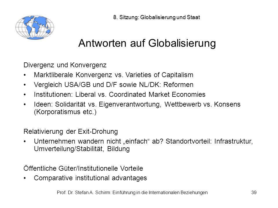 Prof. Dr. Stefan A. Schirm: Einführung in die Internationalen Beziehungen39 Antworten auf Globalisierung Divergenz und Konvergenz Marktliberale Konver