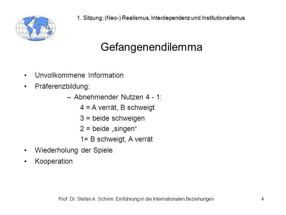 Prof. Dr. Stefan A. Schirm: Einführung in die Internationalen Beziehungen4 Gefangenendilemma Unvollkommene Information Präferenzbildung: –Abnehmender