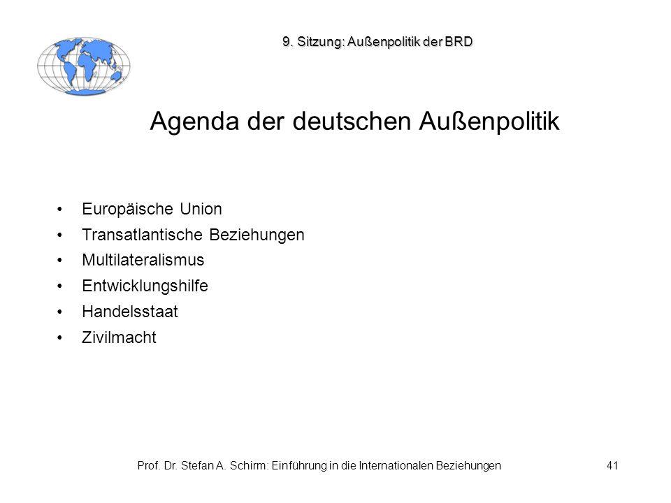 Prof. Dr. Stefan A. Schirm: Einführung in die Internationalen Beziehungen41 Agenda der deutschen Außenpolitik Europäische Union Transatlantische Bezie