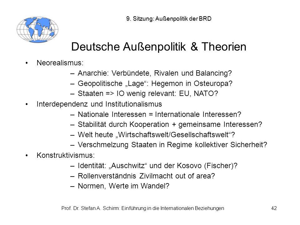 Prof. Dr. Stefan A. Schirm: Einführung in die Internationalen Beziehungen42 Deutsche Außenpolitik & Theorien Neorealismus: –Anarchie: Verbündete, Riva