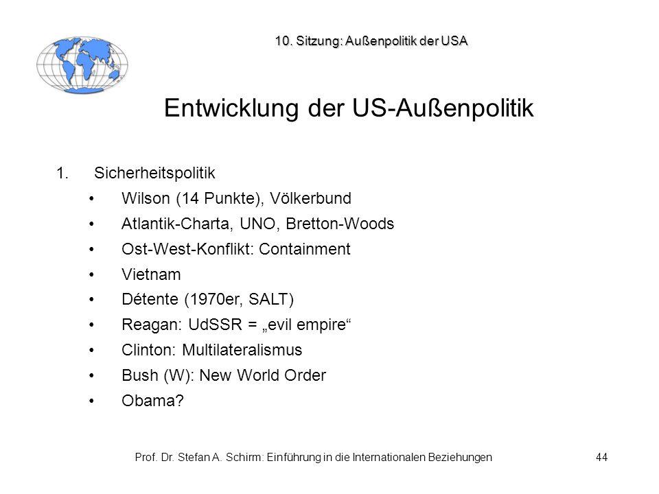Prof. Dr. Stefan A. Schirm: Einführung in die Internationalen Beziehungen44 Entwicklung der US-Außenpolitik 1. Sicherheitspolitik Wilson (14 Punkte),