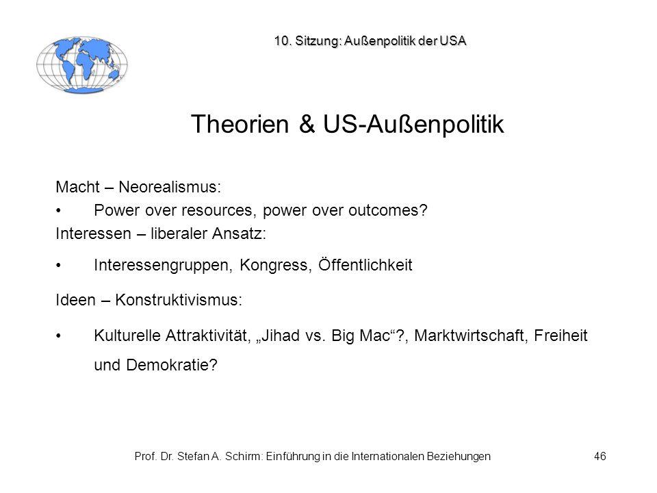 Prof. Dr. Stefan A. Schirm: Einführung in die Internationalen Beziehungen46 Theorien & US-Außenpolitik Macht – Neorealismus: Power over resources, pow