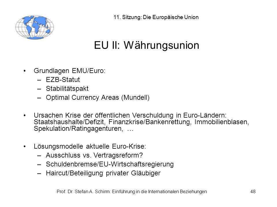 Prof. Dr. Stefan A. Schirm: Einführung in die Internationalen Beziehungen48 EU II: Währungsunion Grundlagen EMU/Euro: –EZB-Statut –Stabilitätspakt –Op