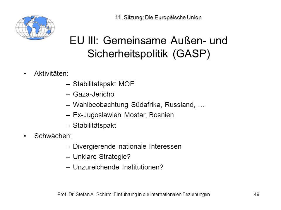 Prof. Dr. Stefan A. Schirm: Einführung in die Internationalen Beziehungen49 EU III: Gemeinsame Außen- und Sicherheitspolitik (GASP) Aktivitäten: –Stab