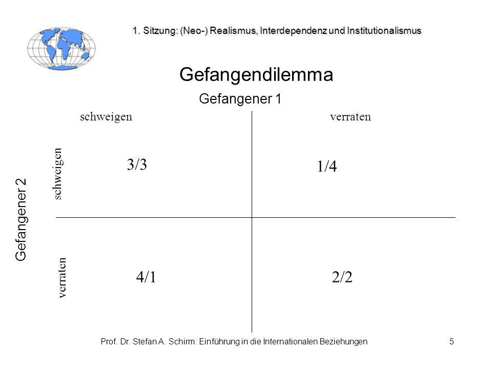 Prof. Dr. Stefan A. Schirm: Einführung in die Internationalen Beziehungen5 Gefangendilemma Gefangener 1 Gefangener 2 schweigenverraten schweigen verra
