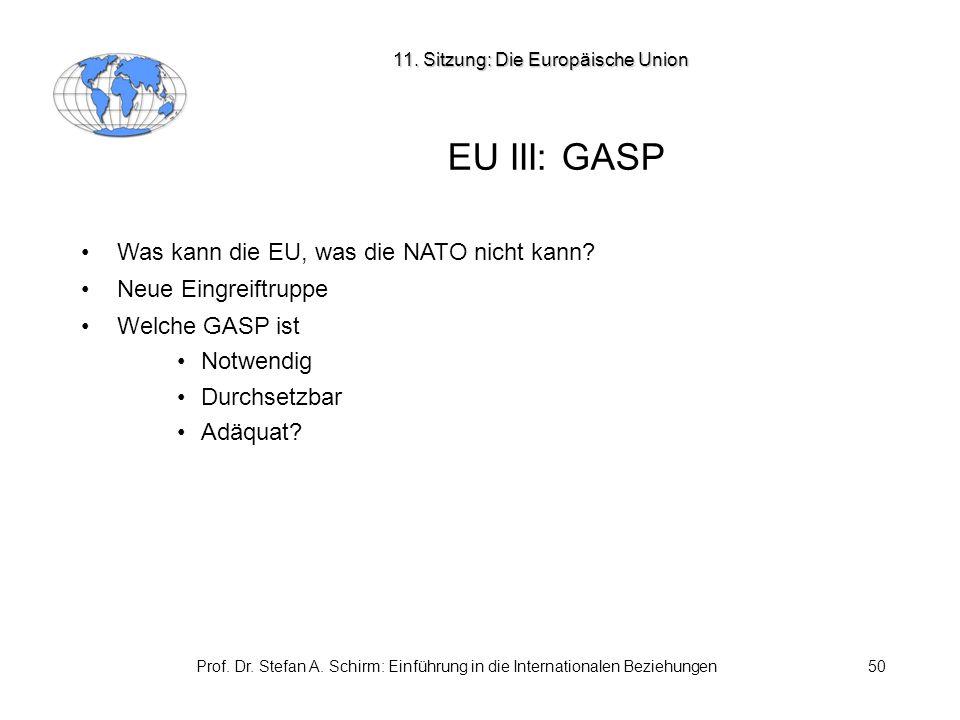Prof. Dr. Stefan A. Schirm: Einführung in die Internationalen Beziehungen50 EU III: GASP Was kann die EU, was die NATO nicht kann? Neue Eingreiftruppe