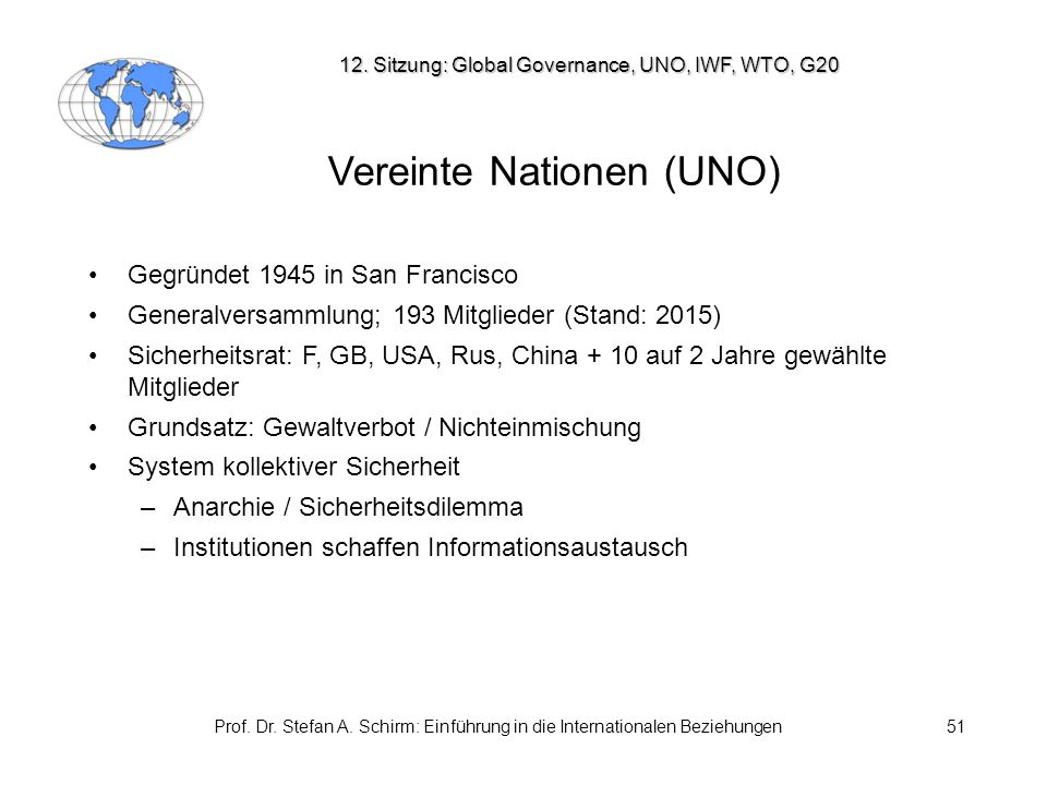 Prof. Dr. Stefan A. Schirm: Einführung in die Internationalen Beziehungen51 Vereinte Nationen (UNO) Gegründet 1945 in San Francisco Generalversammlung