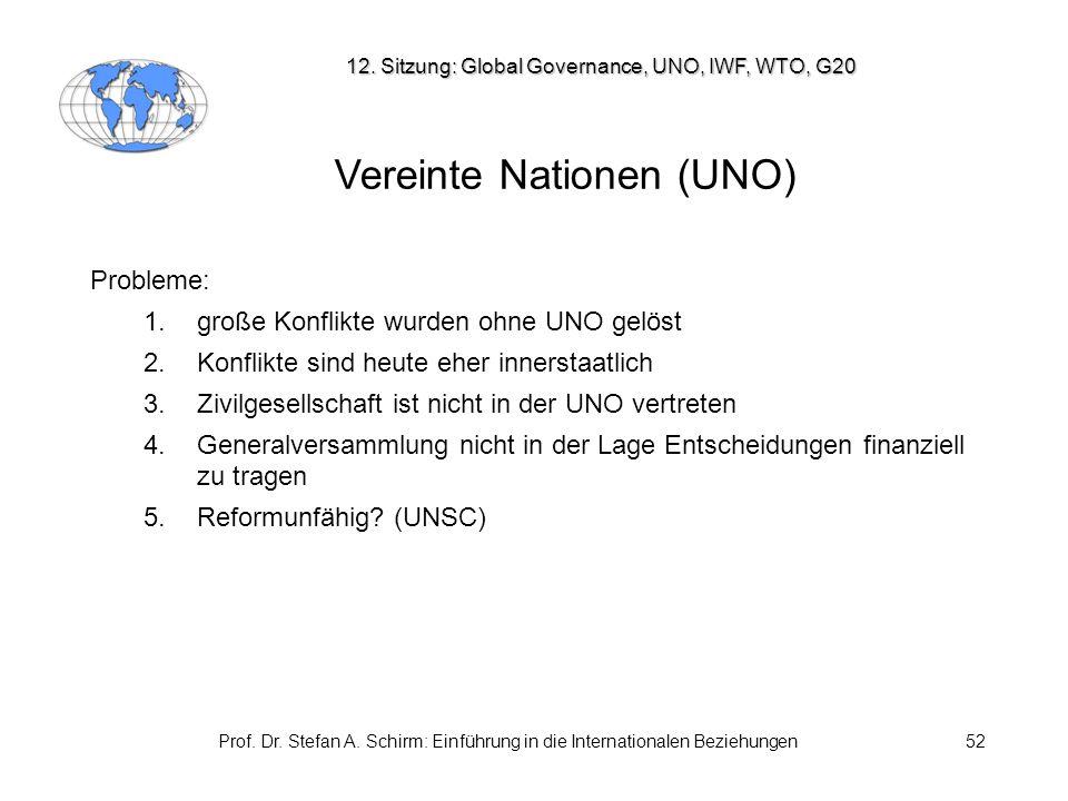 Prof. Dr. Stefan A. Schirm: Einführung in die Internationalen Beziehungen52 Vereinte Nationen (UNO) Probleme: 1. große Konflikte wurden ohne UNO gelös
