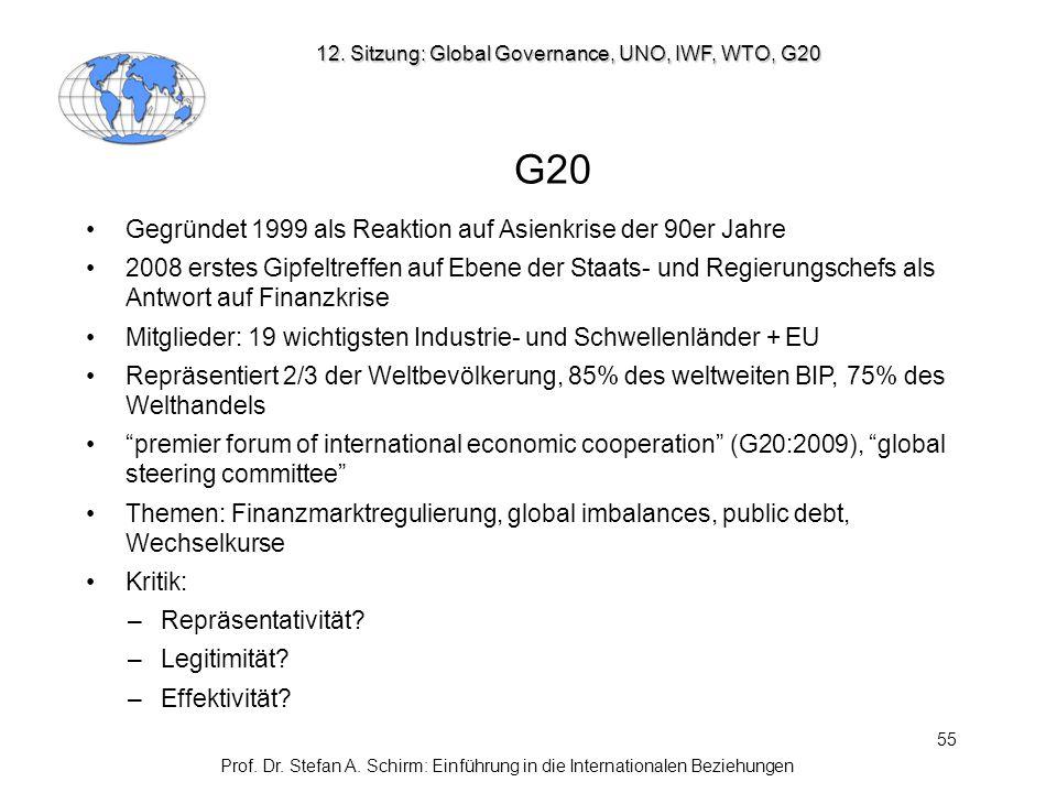 55 12. Sitzung: Global Governance, UNO, IWF, WTO, G20 G20 Gegründet 1999 als Reaktion auf Asienkrise der 90er Jahre 2008 erstes Gipfeltreffen auf Eben