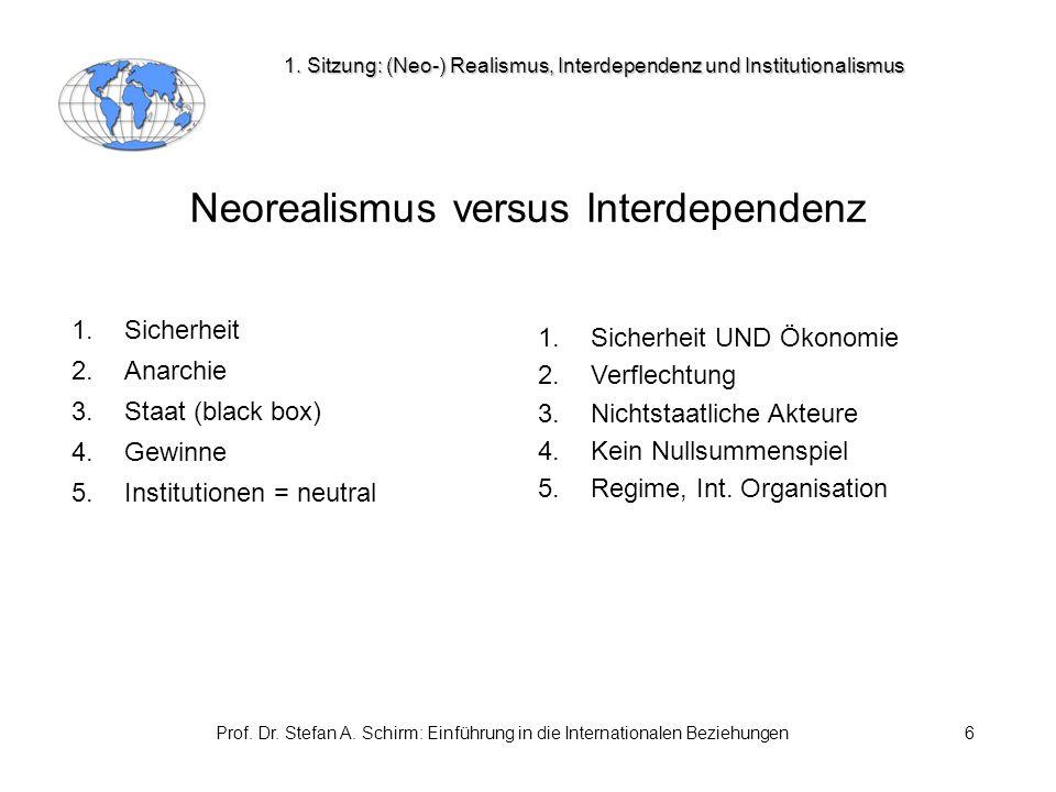 Prof. Dr. Stefan A. Schirm: Einführung in die Internationalen Beziehungen6 Neorealismus versus Interdependenz 1. Sicherheit 2. Anarchie 3. Staat (blac