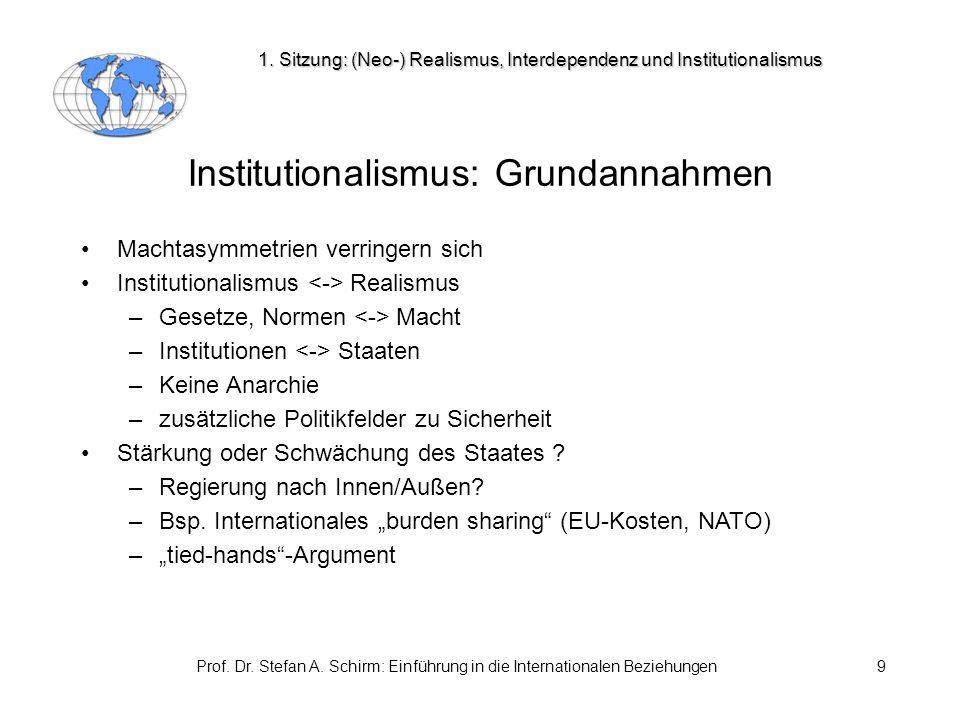 Prof. Dr. Stefan A. Schirm: Einführung in die Internationalen Beziehungen9 Institutionalismus: Grundannahmen Machtasymmetrien verringern sich Institut