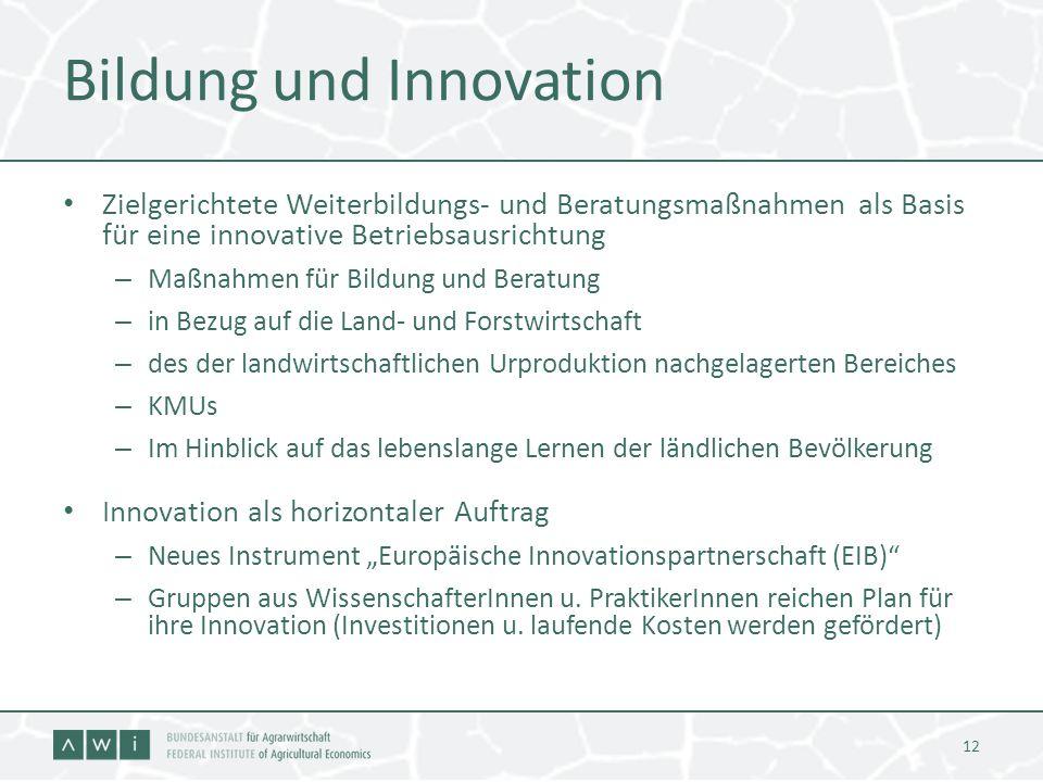 Bildung und Innovation Zielgerichtete Weiterbildungs- und Beratungsmaßnahmen als Basis für eine innovative Betriebsausrichtung – Maßnahmen für Bildung