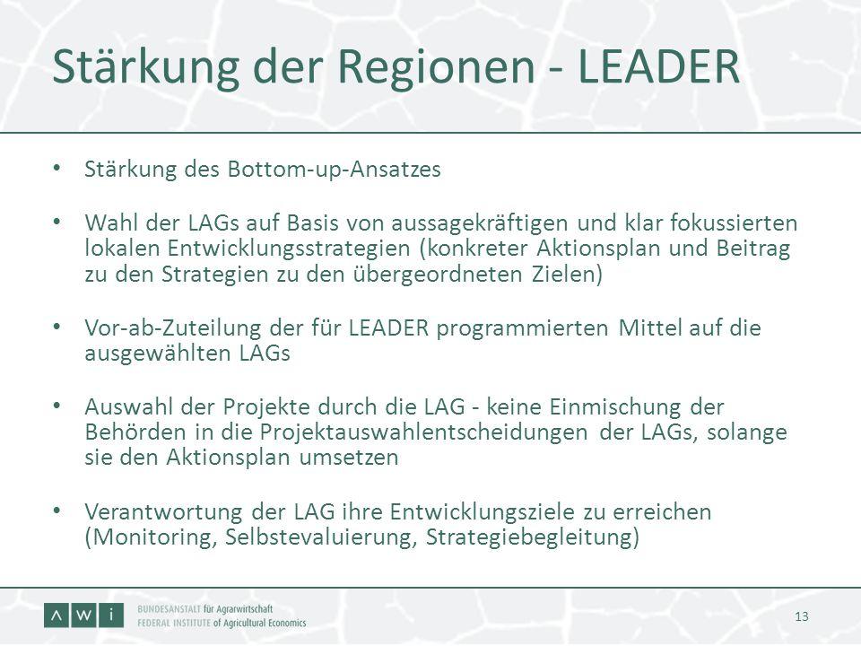 Stärkung der Regionen - LEADER Stärkung des Bottom-up-Ansatzes Wahl der LAGs auf Basis von aussagekräftigen und klar fokussierten lokalen Entwicklungs