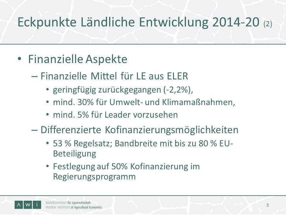 Eckpunkte Ländliche Entwicklung 2014-20 (2) Finanzielle Aspekte – Finanzielle Mittel für LE aus ELER geringfügig zurückgegangen (-2,2%), mind. 30% für