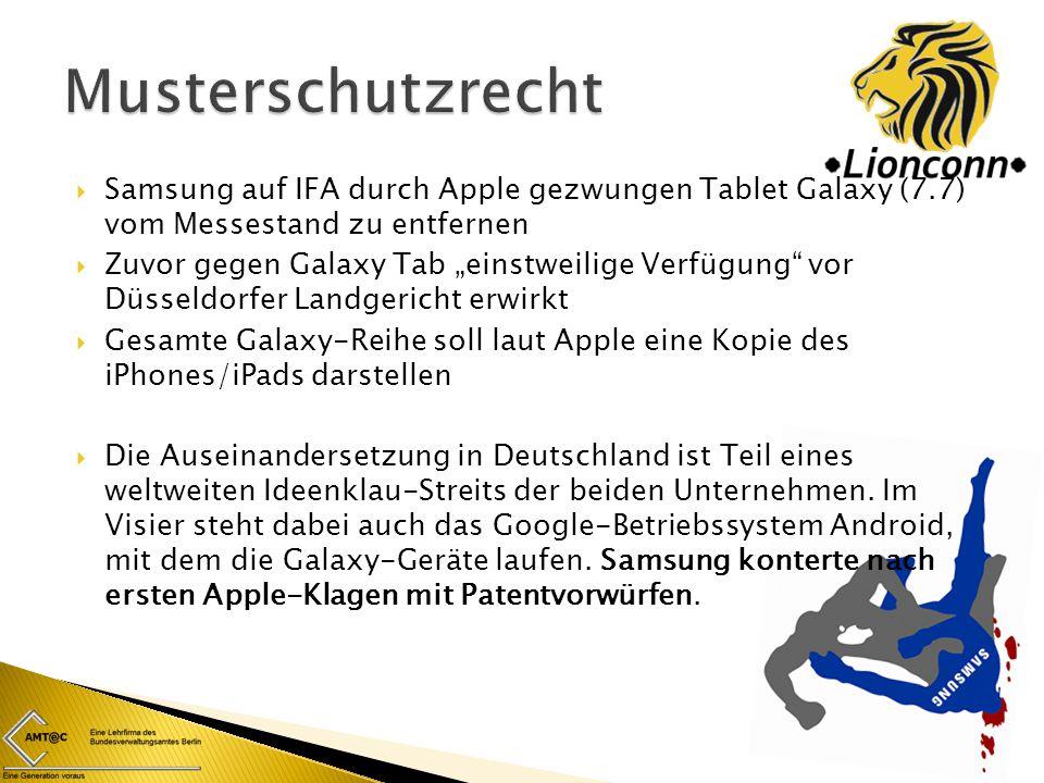 """ Samsung auf IFA durch Apple gezwungen Tablet Galaxy (7.7) vom Messestand zu entfernen  Zuvor gegen Galaxy Tab """"einstweilige Verfügung"""" vor Düsseldo"""