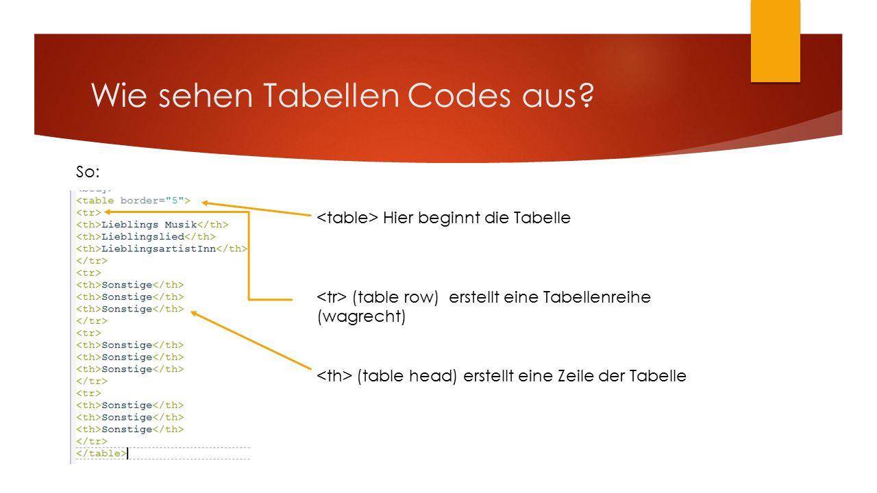 Wie sehen Tabellen Codes aus.