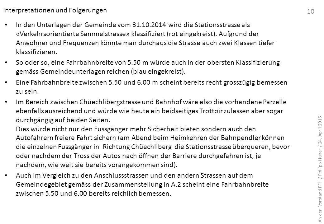 In den Unterlagen der Gemeinde vom 31.10.2014 wird die Stationsstrasse als «Verkehrsorientierte Sammelstrasse» klassifiziert (rot eingekreist). Aufgru