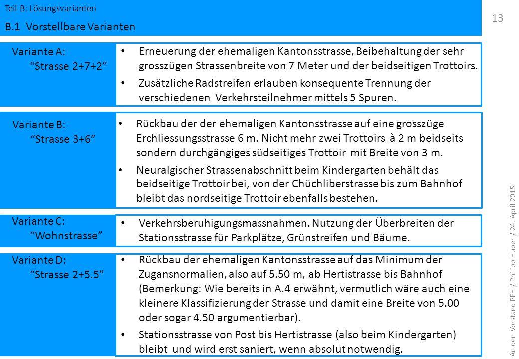 """Variante A: """"Strasse 2+7+2"""" Teil B: Lösungsvarianten B.1 Vorstellbare Varianten 13 Erneuerung der ehemaligen Kantonsstrasse, Beibehaltung der sehr gro"""