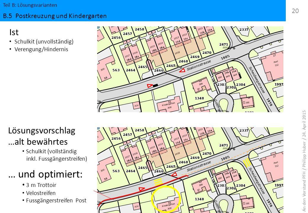 Teil B: Lösungsvarianten B.5 Postkreuzung und Kindergarten 20 An den Vorstand PFH / Philipp Huber / 24. April 2015 Ist Schulkit (unvollständig) Vereng