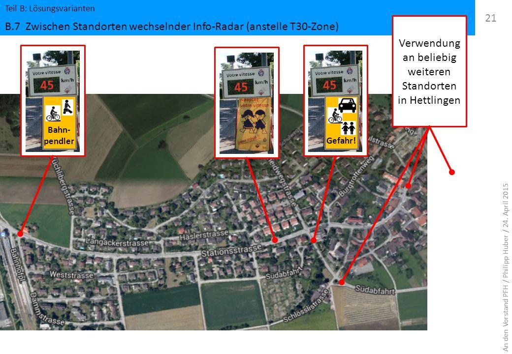 Teil B: Lösungsvarianten B.7 Zwischen Standorten wechselnder Info-Radar (anstelle T30-Zone) 21 An den Vorstand PFH / Philipp Huber / 24. April 2015 Ba