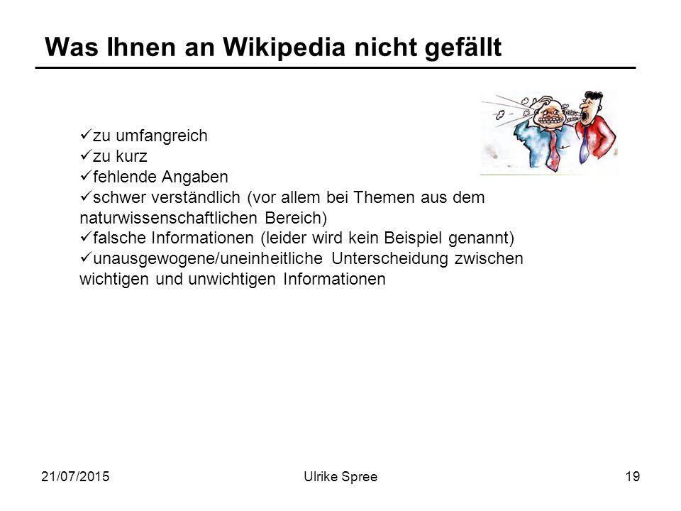 21/07/2015Ulrike Spree19 Was Ihnen an Wikipedia nicht gefällt zu umfangreich zu kurz fehlende Angaben schwer verständlich (vor allem bei Themen aus dem naturwissenschaftlichen Bereich) falsche Informationen (leider wird kein Beispiel genannt) unausgewogene/uneinheitliche Unterscheidung zwischen wichtigen und unwichtigen Informationen