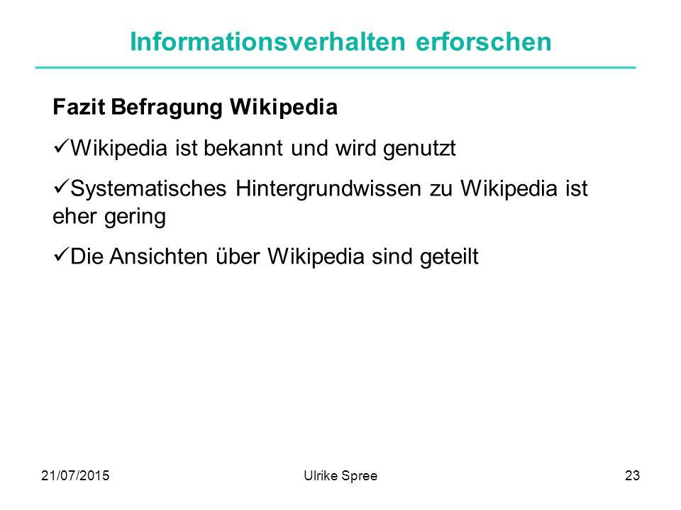 21/07/2015Ulrike Spree23 Informationsverhalten erforschen Fazit Befragung Wikipedia Wikipedia ist bekannt und wird genutzt Systematisches Hintergrundwissen zu Wikipedia ist eher gering Die Ansichten über Wikipedia sind geteilt