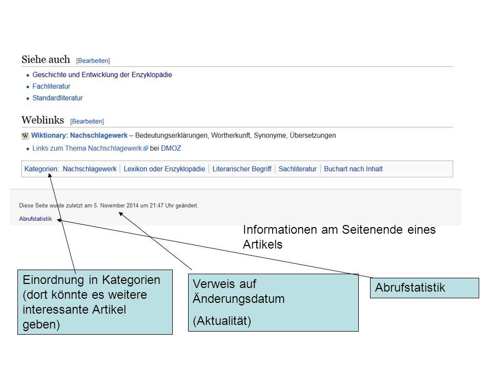 Informationen am Seitenende eines Artikels Einordnung in Kategorien (dort könnte es weitere interessante Artikel geben) Verweis auf Änderungsdatum (Aktualität) Abrufstatistik