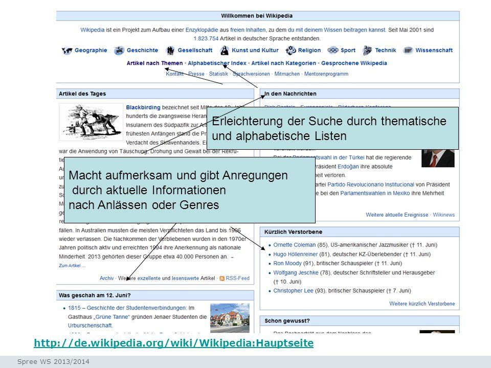 Seminar I-Prax: Inhaltserschließung visueller Medien, 5.10.2004 Spree WS 2013/2014 http://de.wikipedia.org/wiki/Wikipedia:Hauptseite Hauptseite Macht