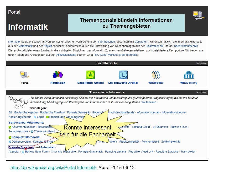 Portal Themenportale bündeln Informationen zu Themengebieten Könnte interessant sein für die Facharbeit http://de.wikipedia.org/wiki/Portal:Informatik
