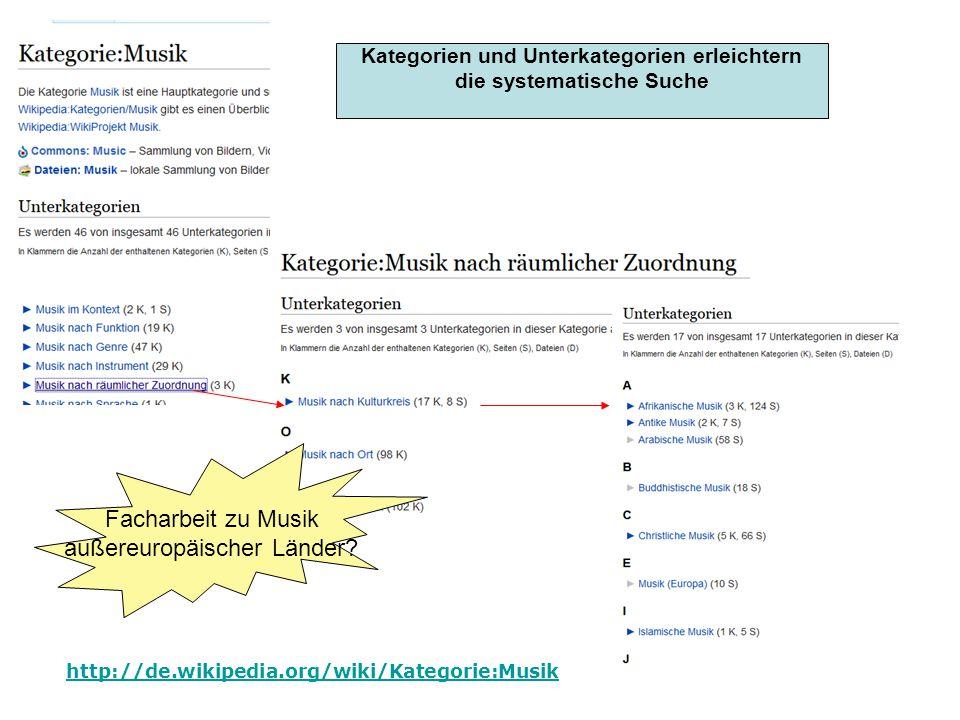 http://de.wikipedia.org/wiki/Kategorie:Musik Kategorien Kategorien und Unterkategorien erleichtern die systematische Suche Facharbeit zu Musik außereu