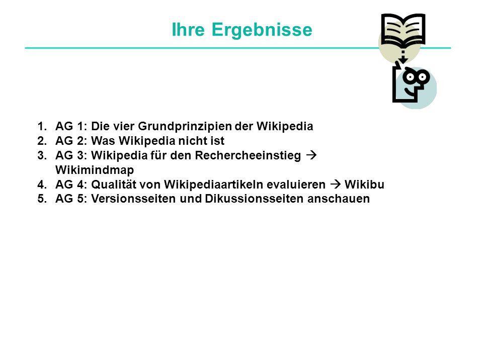 Ihre Ergebnisse 1.AG 1: Die vier Grundprinzipien der Wikipedia 2.AG 2: Was Wikipedia nicht ist 3.AG 3: Wikipedia für den Rechercheeinstieg  Wikimindmap 4.AG 4: Qualität von Wikipediaartikeln evaluieren  Wikibu 5.AG 5: Versionsseiten und Dikussionsseiten anschauen