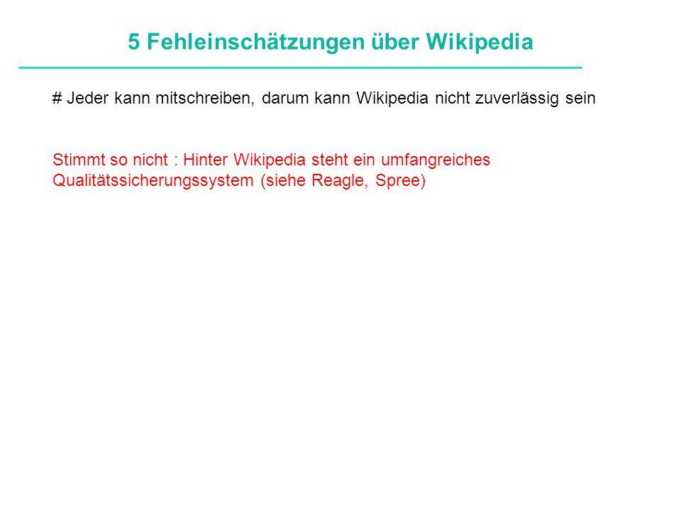Definitionen # Jeder kann mitschreiben, darum kann Wikipedia nicht zuverlässig sein Stimmt so nicht : Hinter Wikipedia steht ein umfangreiches Qualitä