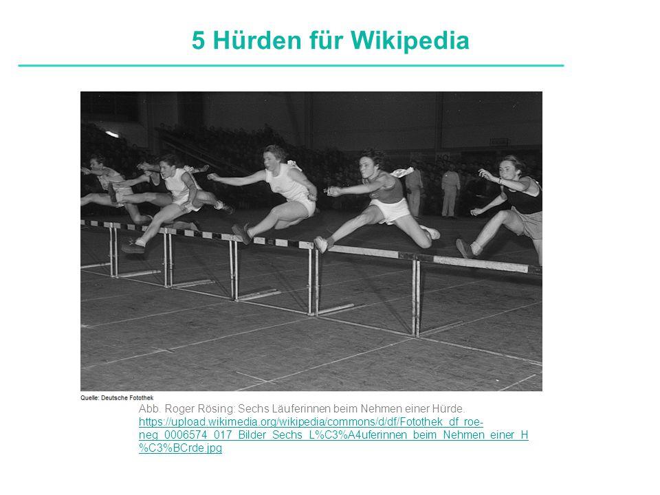 Definitionen 5 Hürden für Wikipedia Abb. Roger Rösing: Sechs Läuferinnen beim Nehmen einer Hürde. https://upload.wikimedia.org/wikipedia/commons/d/df/
