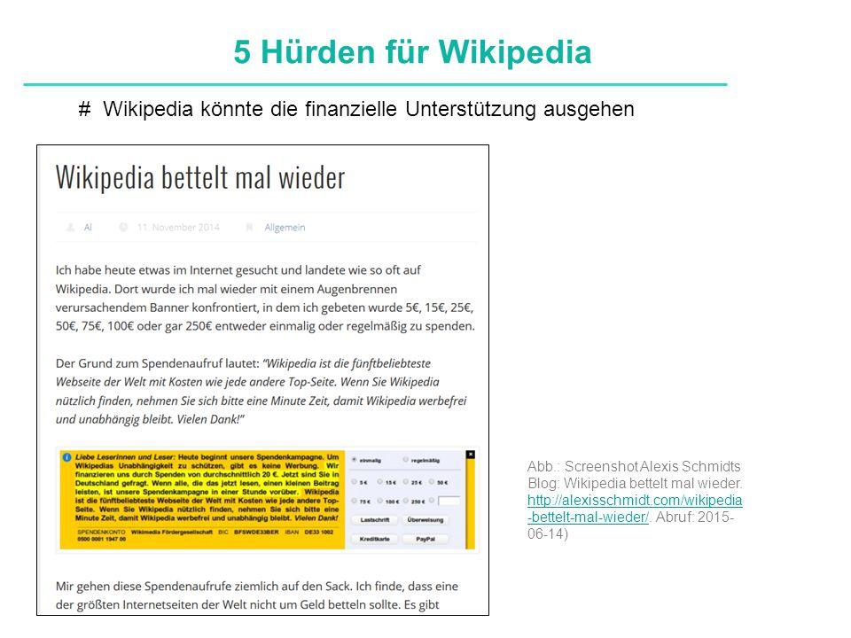 Definitionen # Wikipedia könnte die finanzielle Unterstützung ausgehen 5 Hürden für Wikipedia Abb.: Screenshot Alexis Schmidts Blog: Wikipedia bettelt